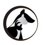 Van het kattenhond en konijn silhouettenembleem stock illustratie