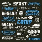 Van het kentekenshonkbal en rugby universiteitsteam Stock Afbeeldingen