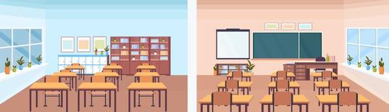 Van het het klaslokaal binnenlands schoolbord van de achter en vooraanzicht modern school leeg de leraarsbureau geen vlakke mense stock illustratie