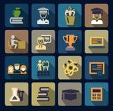 Van het kleurenschool en onderwijs geplaatste pictogrammen Royalty-vrije Stock Fotografie