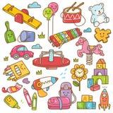 Van het kleuterschoolspeelgoed en materiaal krabbelreeks royalty-vrije illustratie