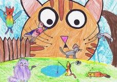 Van het leven van katten Kinderen` s tekening Royalty-vrije Stock Afbeeldingen