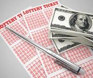 Van het loterijkaartje en geld concept stock illustratie