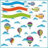 Van het luchtballon en vliegtuig samenstelling Stock Foto