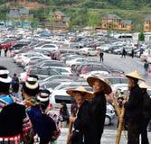 Van het miaodorp van Guizhou toneel het gebiedsparkeerterrein Stock Foto's