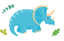 Van het monster dierlijk Dino van de beeldverhaaldinosaurus triceratops vectorillustratie geïsoleerd voorhistorisch het karakter  Stock Foto