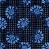 Van het het motiefgeruite schots wollen stof van de indigo het blauwe gewaagde bloem vectorpatroon Naadloze het herhalen druk stock illustratie