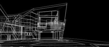 Van het het ontwerpconcept van de architectuur buitenvoorgevel 3d het perspectief witte wireframe die zwarte achtergrond teruggev stock illustratie