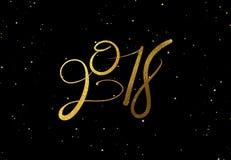 Van het het ontwerpmalplaatje van de nieuwjaar 2018 de gouden van letters voorziende kaart zwarte achtergrond Royalty-vrije Stock Foto