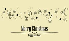 Van het ornamentpictogrammen van de Kerstmisgroet van de het elementenbanner de zwarte kleur geïsoleerde achtergrond royalty-vrije illustratie