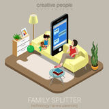 Van het ouderschapinternet van de familiesplitser sociale vlakke vector isometrisch Royalty-vrije Stock Afbeelding