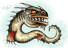 Van het overzeese de mutant van de draakvissen monsterwater Eng diep demon Kwaad bloeddorstig karakter in Halloween De illustrati royalty-vrije illustratie