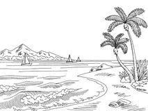Van het overzeese de schetsillustratie baai grafische zwarte witte landschap royalty-vrije illustratie
