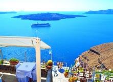 Van het overzeese het eiland van Santorini meningsterras Stock Foto