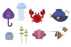 Van het overzeese het karakter vectorillustratie dieren mariene leven royalty-vrije illustratie