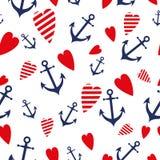 Van het overzeese mariene vector naadloze het hart blauwe rode overzeese patronenanker reisachtergronden vector illustratie