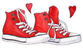 Van het paarschoenen van waterverf rode tennisschoenen de hartenliefde Stock Foto