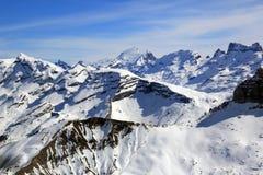 Van het panoramazwitserland van alpen foto van de de bergen luchtmening de Zwitserse Royalty-vrije Stock Foto's