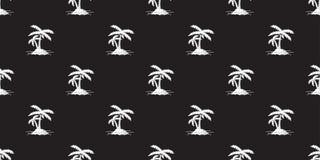 Van het het Patroon vectoreiland geïsoleerd pictogram van de kokospalmpalm Naadloos het behangwit als achtergrond vector illustratie