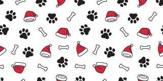 Van het patroon vectorkerstmis van de hondpoot herhaalt de naadloze van de de hoeden Franse buldog van Santa Claus Xmas van de he royalty-vrije illustratie