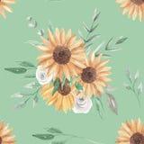 Van het Patroonbloemen van de zonnebloemenwaterverf de Naadloze Witte Rozen stock illustratie