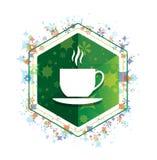 Van het pictogram bloemeninstallaties van de koffiekop het patroon groene hexagon knoop royalty-vrije illustratie