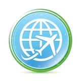 Van het pictogram de natuurlijke aqua van de vliegtuigwereld cyaan blauwe ronde knoop stock illustratie