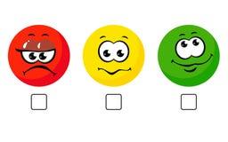 Van het het pictogram de positieve, negatieve neutrale advies van de gezichtsglimlach tekens van de het tariefknoop vector op wit stock illustratie