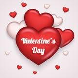 Van het Pictogramgreating van hart de Realistische 3d Valentine Day Symbol Transparent Background Spot van het de Kaartmalplaatje Stock Foto