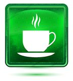 Van het het pictogramneon van de koffiekop de lichtgroene vierkante knoop stock illustratie