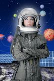Van het ruimteschipvliegtuigen van de astronaut de vrouw van de de helmmanier Royalty-vrije Stock Afbeelding