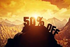 50% van het schrijven op een bergpiek 3d Royalty-vrije Stock Foto's