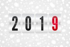 van het het scorebord het Gelukkige Nieuwjaar van 2019 vectorpictogram De sneeuwpatroon van de de wintervakantie Witte en grijze  royalty-vrije illustratie