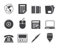 Van het silhouet Bedrijfs en Bureau hulpmiddelenpictogrammen Stock Afbeeldingen