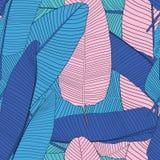 Van het het Silhouet Naadloze Patroon van het palmblad Vectorillustratie Als achtergrond Stock Foto's