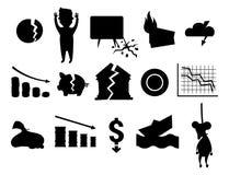 Van het het silhouetprobleem van crisissymbolen zwart van de economiebankzaken de financiënontwerp vector illustratie