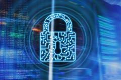 Van het het slotpictogram van de Cyberveiligheid van de de Informatieprivacy de Gegevensbescherming Internet en Technologieconcep stock foto's