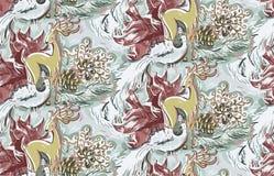 Van het speelgoedkerstmis van de hertenvogel van het het jaar blauwe roze naadloze patroon nieuwe de verf geweven vector stock illustratie