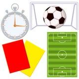 Van het het spelbeeldverhaal van de voetbalvoetbal pictogram 4 elementenreeks stock illustratie