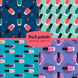 Van het spijkerlak of nagellak naadloze geplaatste patronen Royalty-vrije Stock Foto