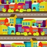 Van het stadsconcept naadloos patroon als achtergrond Royalty-vrije Stock Afbeelding