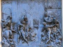 Van het Standbeeldpalazzo Vecchio van Sabines van de bronsplaque de Loggia Florence Italy royalty-vrije stock afbeelding