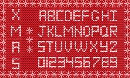 Van het stoffenkerstmis of Nieuwjaar manuscript Gebreid feestelijk alfabet Royalty-vrije Stock Foto's