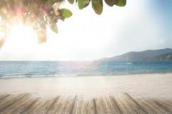 Van het strandloney van de de zomerdroom het zandstrand in de tijd van de de zomervakantie Stock Afbeeldingen