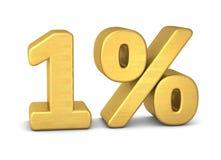 1 van het symbool 3d percent goud stock illustratie