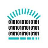 Van het het symboolpictogram van de binaire codelading het het vectordieteken en symbool op witte achtergrond, het concept van he stock illustratie
