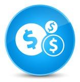 Van het het tekenpictogram van de financiëndollar de elegante cyaan blauwe ronde knoop royalty-vrije illustratie