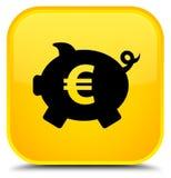 Van het het tekenpictogram van het spaarvarken de euro speciale gele vierkante knoop Stock Afbeeldingen