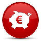 Van het het tekenpictogram van het spaarvarken de euro speciale rode ronde knoop Royalty-vrije Stock Afbeelding