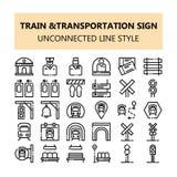 Van het het tekenpixel van het treinvervoer de perfecte die pictogrammen in Overzicht afgekoppelde lijnstijl worden geplaatst stock illustratie